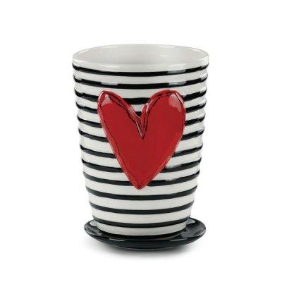 Stripes Ceramic Pot and Saucer
