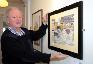 Northern artists' exhibition at Haworth Art Gallery, Accrington. Pictured is Terence Jorgensen of Barnoldswick, winner of the Garstang & district open art exhibition 2016, showing one of his works. The exhibition runs until 1 May.