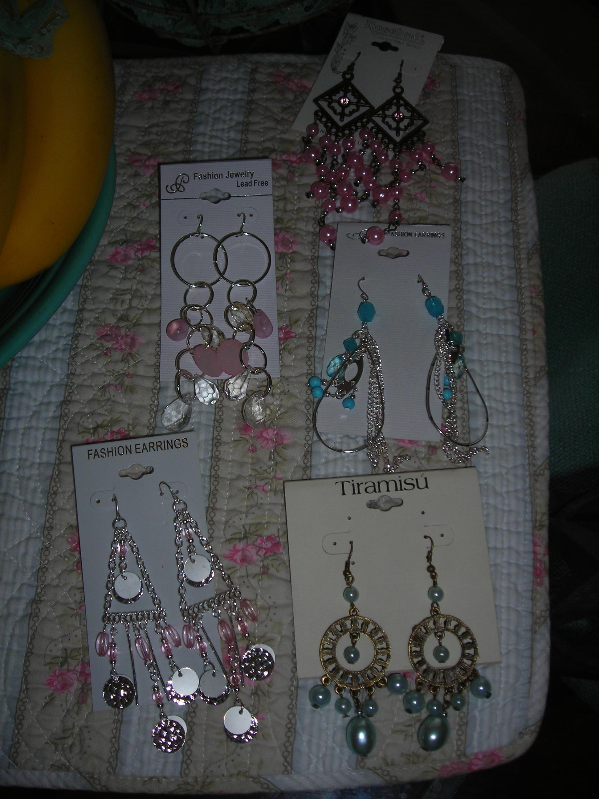 my new dangle earrings (ala goodwill)