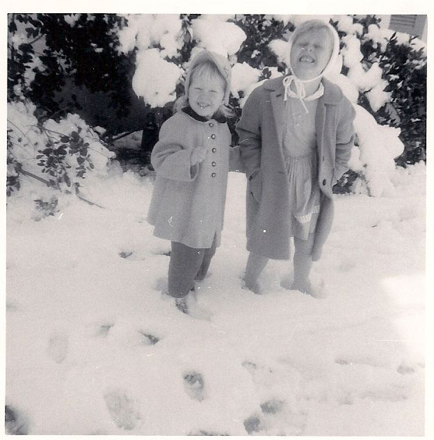 yes, virginia ... i mean vintage sue, there IS snow in texas. sometimes. like in 1963! sisters in the texas snow ... love my coat and hat (i'm the shorter one)!