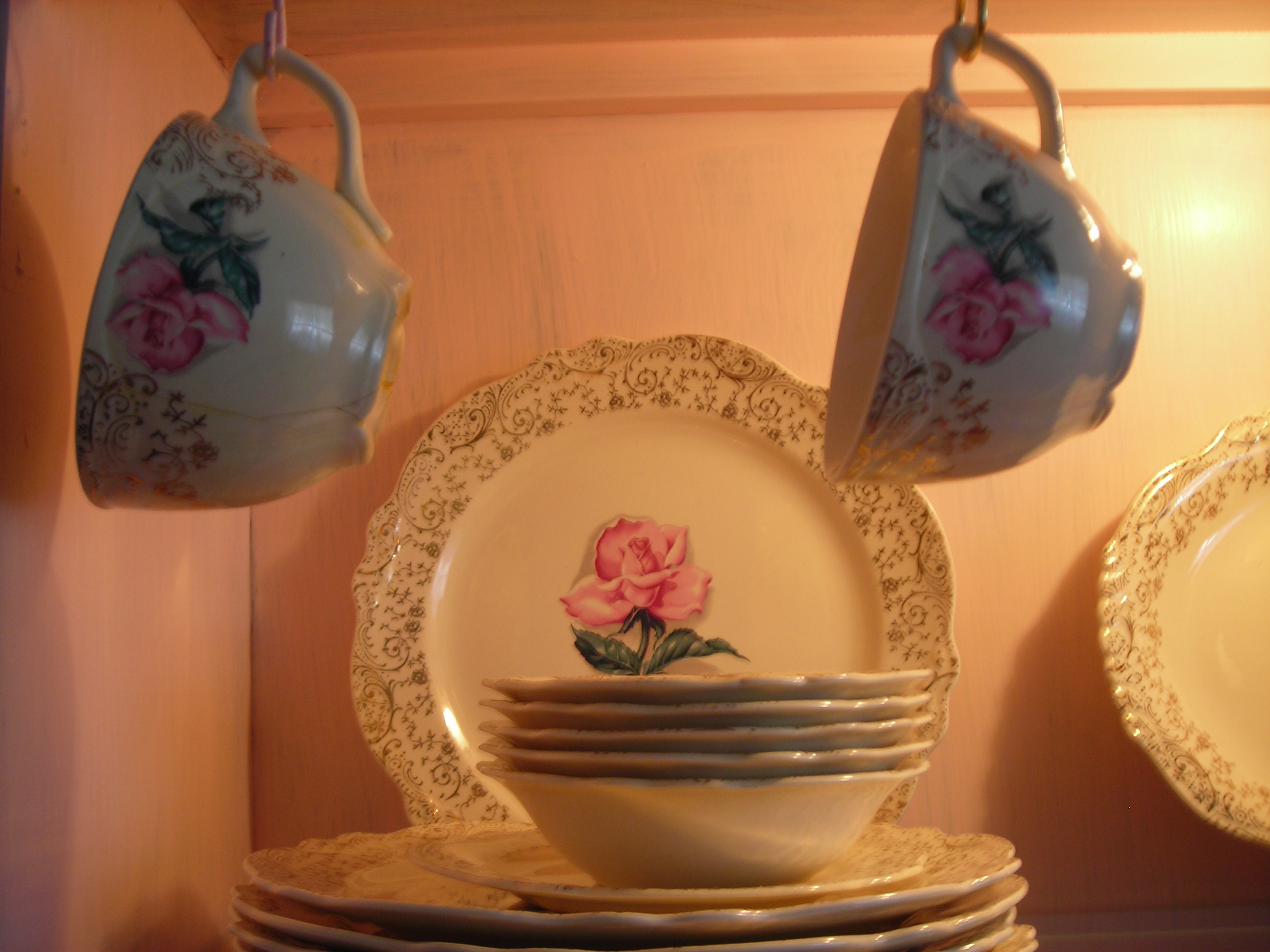 close up of my mama's virginia rose plates and cups