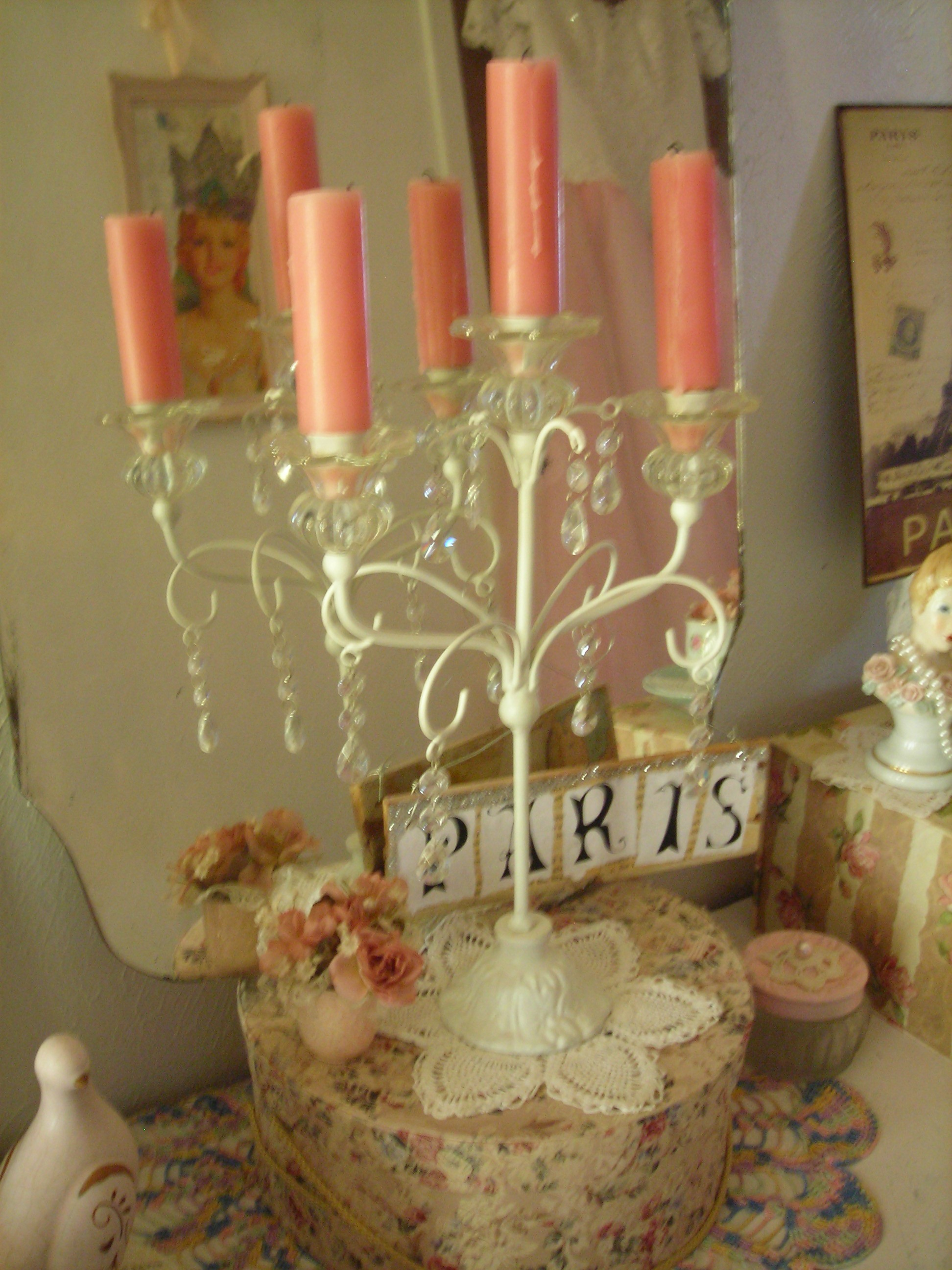 gorgeous white vintage candleabra, a birthday gift from jannetta
