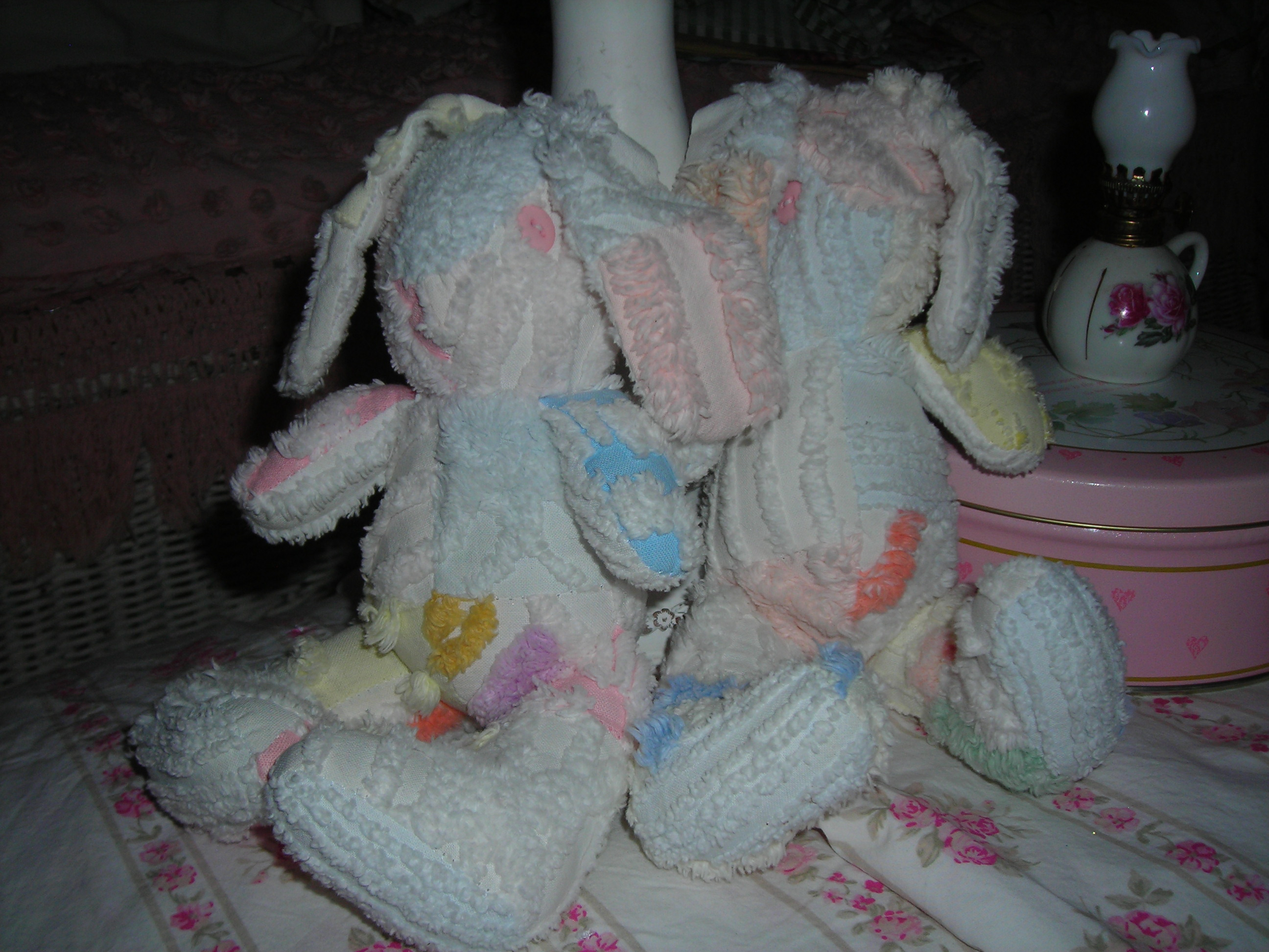 these guys are adorable! bunnies made from chenille. in great condition too