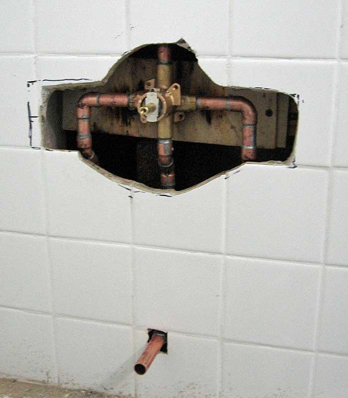 three handle tub shower faucet