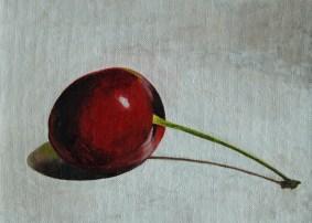 """Cherry"" Still life 8 x 10 Acrylic on Canvas Board"