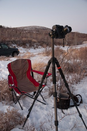 Setting up for a cold evening of astro-landscape photography. © Terry Ownby.