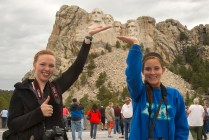 Amy and Megan, UCM students, give Rushmore a face lift. © Terry Ownby