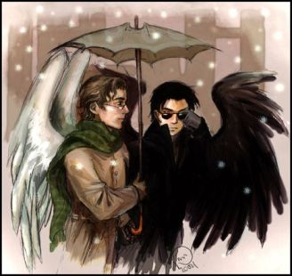 Good Omens: winter by Linnpuzzle (Flaming Bentley)