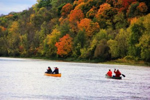 Fall Foliage and Colorful Canoeists