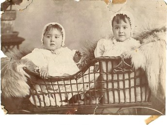 Grandmother and great aunt in basket