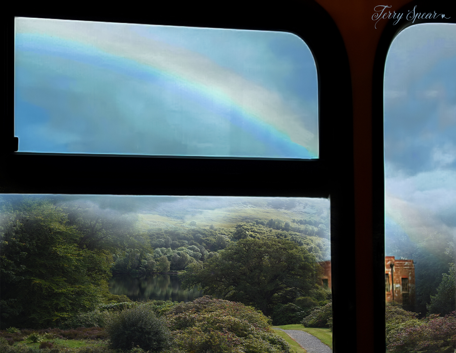 rainbow over Scotland off bus window and lake view from castle 2000