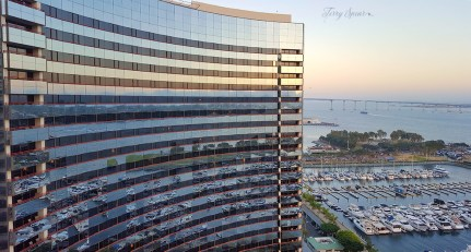 reflection of marina in glass San Diego 1000