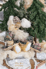 santa bears, light yellow mohair, tapestry coat and hat 900 007