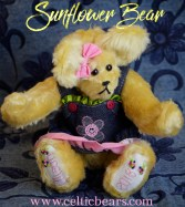 Sunflower yellow mohair bear with blue jean dress 1000 004