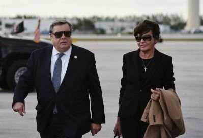 Viktor and Amalija Knavs, the parents of US First Lady Melania Trump, are seen on the tarmac after they stepped off Air Force One upon arrival at Palm Beach International Airport in West Palm Beach, Florida on March 17, 2017. / AFP PHOTO / MANDEL NGAN (Photo credit should read MANDEL NGAN/AFP/Getty Images)