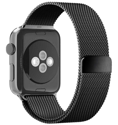 black_milanese_loop_watch_band