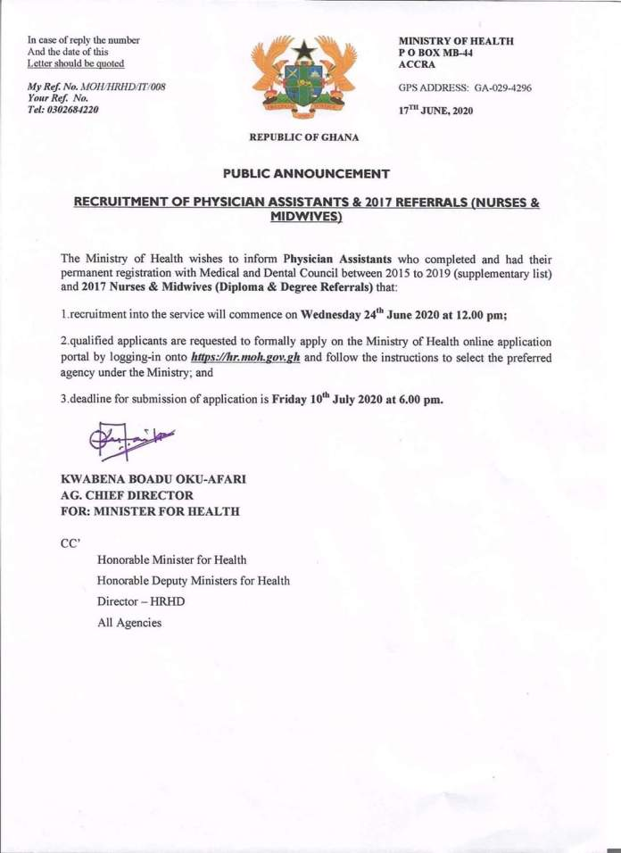 MoH Announces Recruitment Of Physician Assistants And 2017 Nurses and midwives