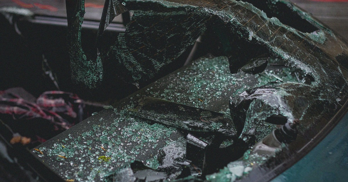 Car accident with a car's shattered windshield