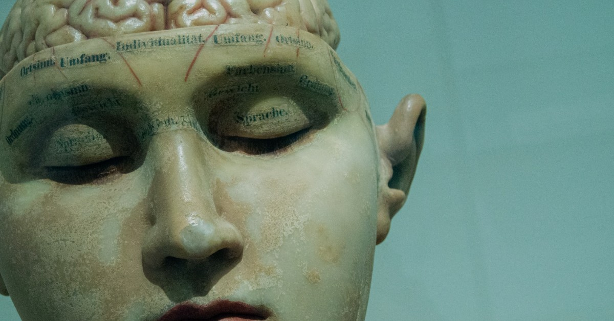 A porcelain face of a woman with an exposed brain