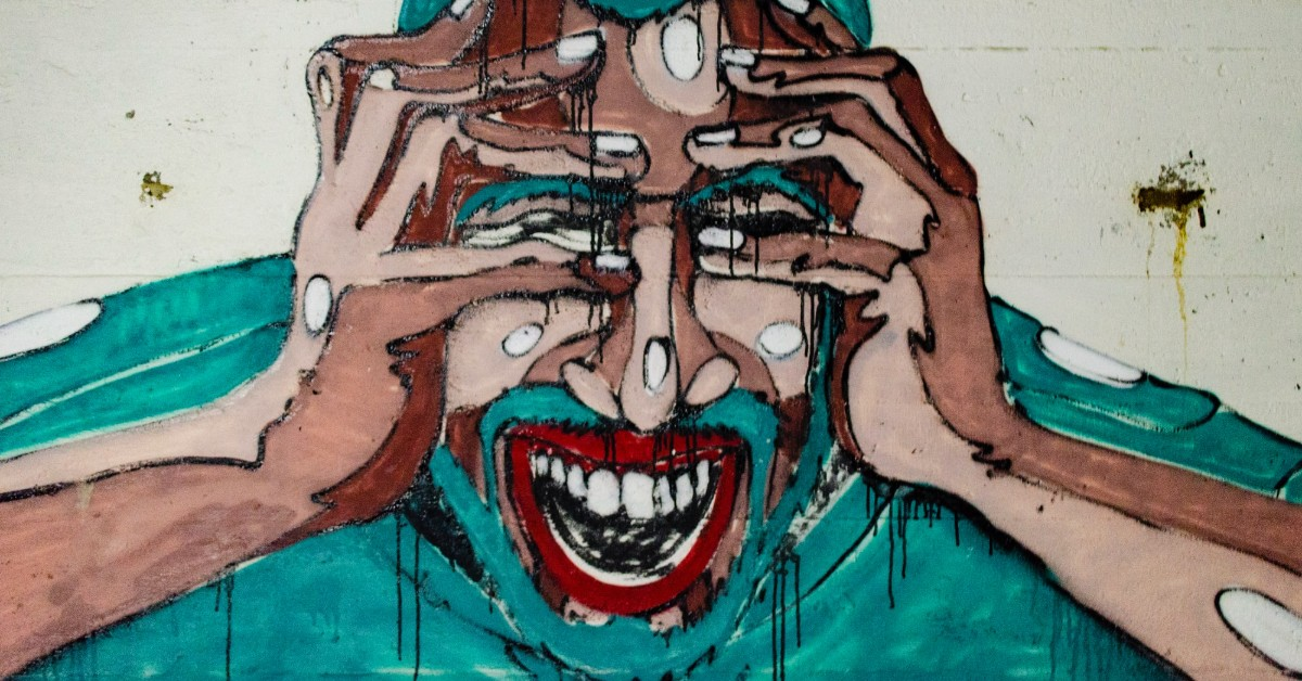 Artwork of a brown man crying