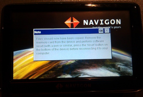 Popup message shown in Navigon after script has been run