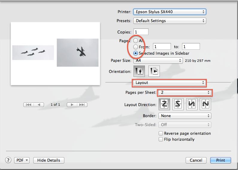 Printing multiple images per sheet in Mac OS X Lion – Robert