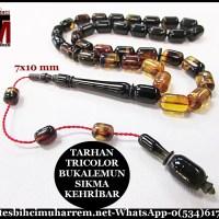 SIKMA KEHRİBAR TESBİH 7x10 mm TRICOLOR BUKALEMUN TARHAN (TM4380)