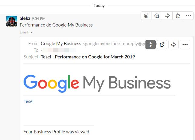 Correo de Gmail dentro de Slack
