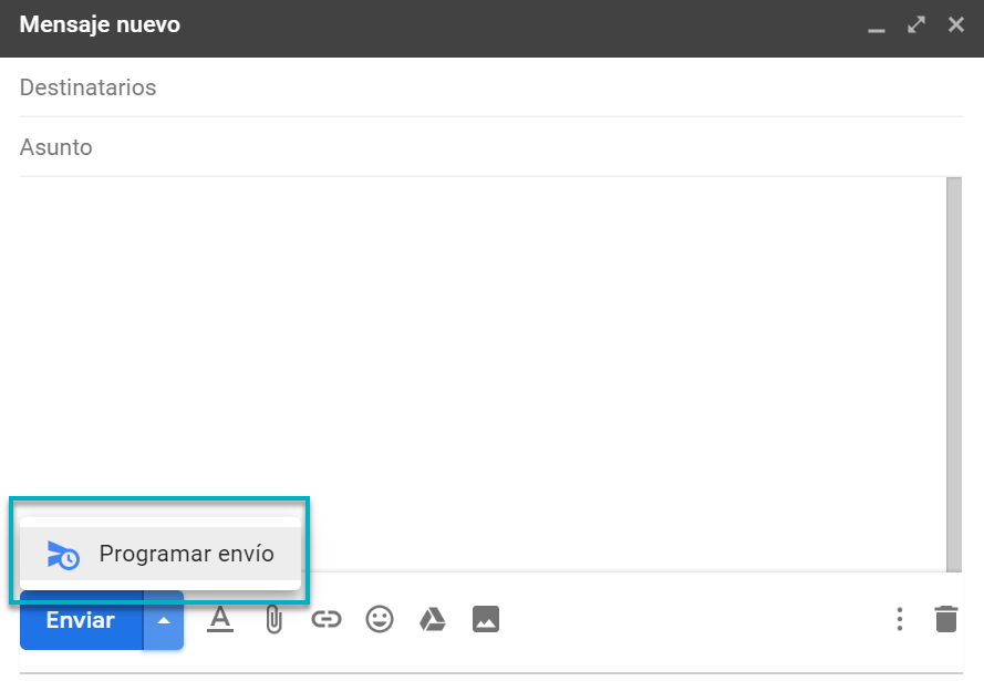 Programar envío en Gmail
