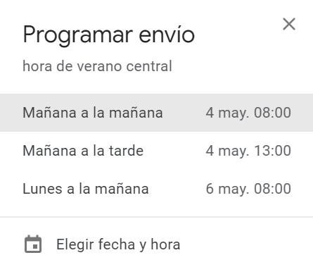 Elige una fecha y la hora sugerida por Gmail para programar el envío del correo