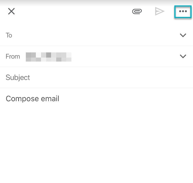 Opciones nuevo correo en móvil Gmail