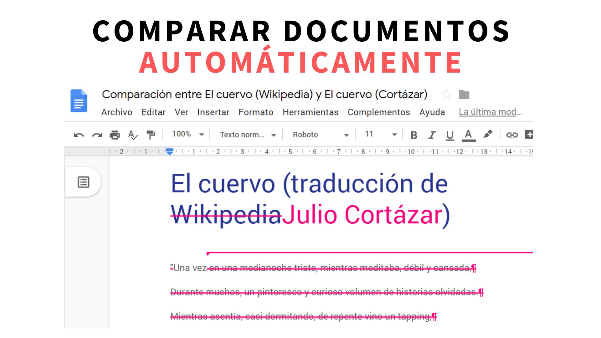 Comparar el texto de dos documentos automáticamente