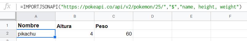 Consultando la API con IMPORTJSONAPI