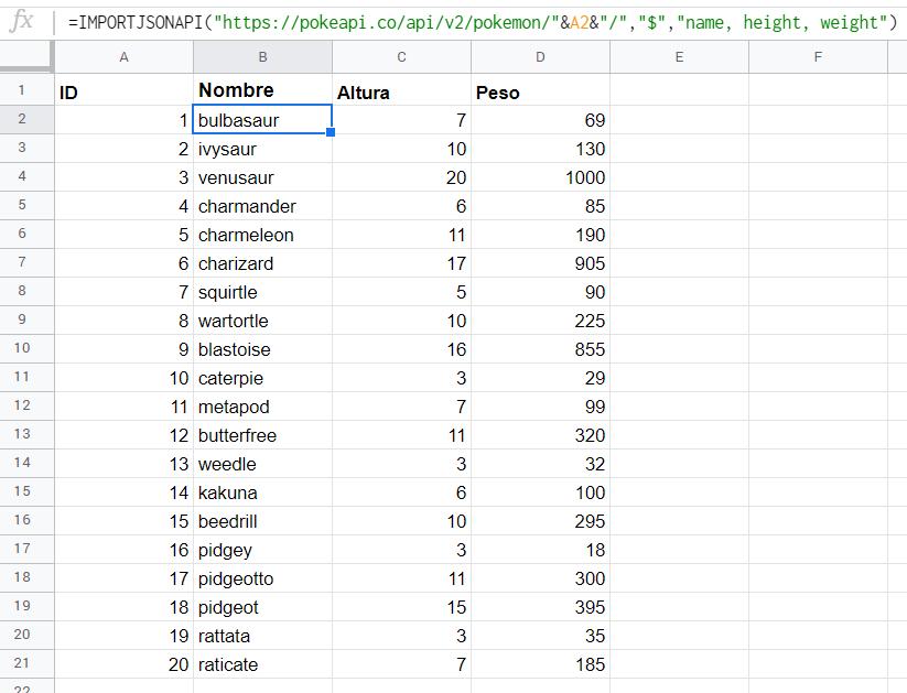 Utilizando la fórmula IMPORTJSONAPI muchas veces en la misma hoja