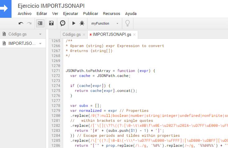 Pegar código de IMPORTJSONAPI