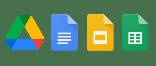 Google Drive, Google Docs, Google Slides, Google Sheets