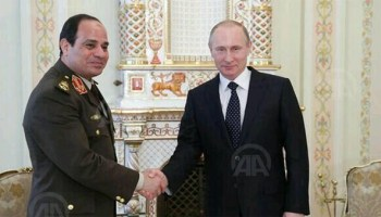 Marshal Alsisi and President Putin after the woepons purchase deal that was financed by Saudi Arabia and United Arab Emirates