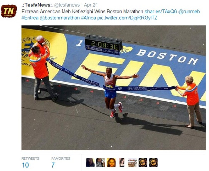 One of the iconic photos of the 118th Boston Marathon