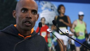 2009 New York City Marathon champion Meb Keflezighi of USA speaks during a news conference ahead of the 2014 New York City Marathon in New York, October 30, 2014.