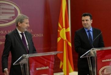 """Hahn në Shkup: nuk më pëlqen IRJM-ja, pres të them """"Maqedonia Veriore"""""""