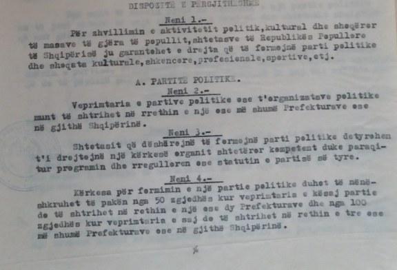 E (PA)BESUESHME/ Kur Enver Hoxha inicionte ligjin për krijimin e partive politike