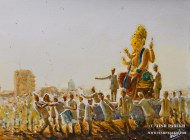 """The Lord Ganesha Immersion Procession"". 9×12. Watercolor on paper."