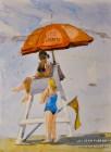 Lifeguard on Duty. Myrtle Beach SC. 8×5. Watercolor on paper. Plein Air.