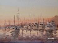 """Marina- New Bern"". 12×16. Watercolor on paper."