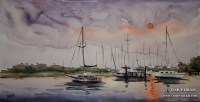 Southport Sunset. Plein Air. Watercolor on paper.
