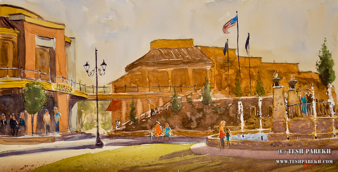 Raleigh Artist – Plein Air Watercolor of Waverly Place for WAG
