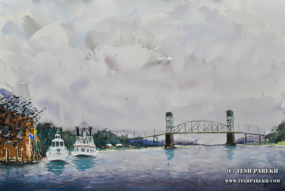"Raleigh Fine Art – ""Wilmington Waterfront"" Plein Air Watercolor Painting"