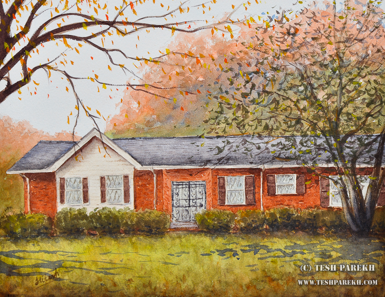 Painting Commission of Home by Raleigh Fine Artist