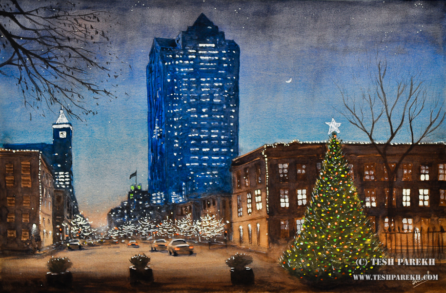 Raleigh Downtown at Christmas – A watercolor painting by NC Fine Artist