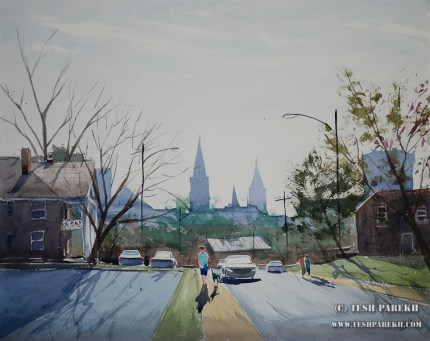 View from Willard. 16x20. Plein air watercolor on paper.